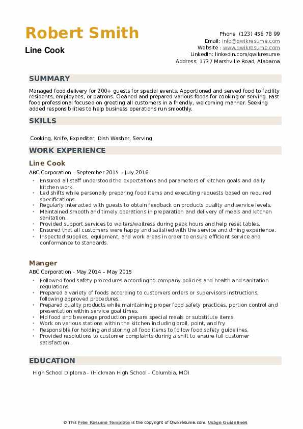 line resume samples qwikresume sample pdf for school secretary position librarian example Resume Line Cook Resume Sample
