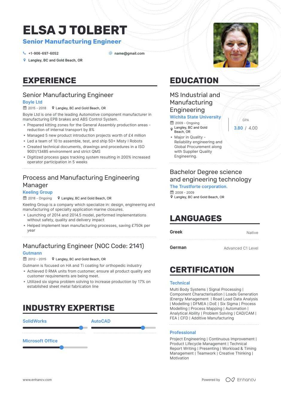 manufacturing engineer resume example for enhancv automobile experience dental assistant Resume Automobile Engineer Resume