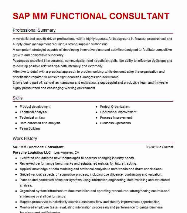 manufacturing sap mm consultant resume example company name glendale customer service Resume Sap Customer Service Resume