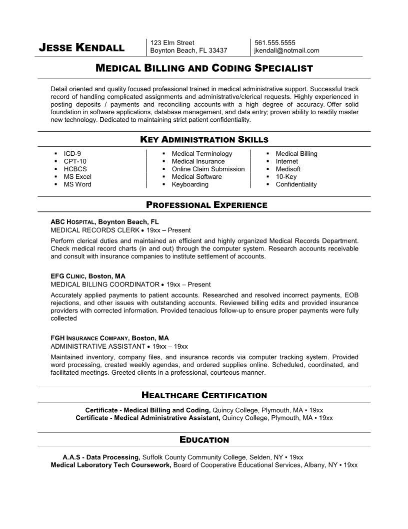 medical coder free resume samples coding billing the assistant sample for specialist Resume Sample Resume For Medical Coding Specialist