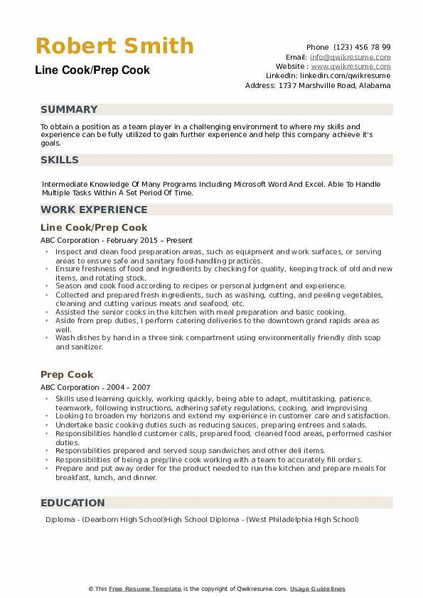 prep resume sample line 17qq phgnhqwsgsy listing volunteer work on construction manager Resume Line Cook Resume Sample