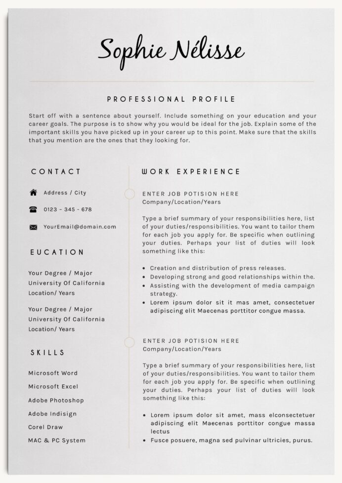 professional resume template with cover letter and reference includes icons free for Resume Resume Contact Information
