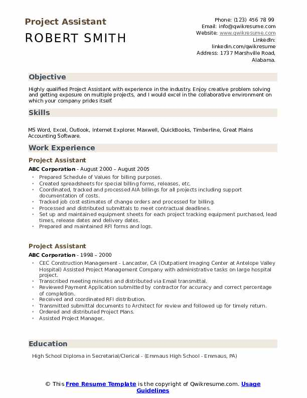 project assistant resume samples qwikresume school projects on pdf professional writers Resume School Projects On Resume