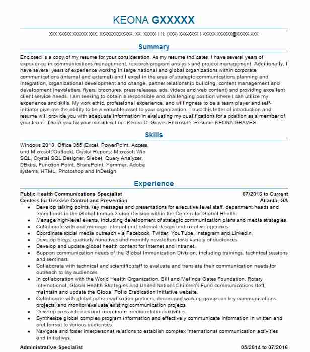 public health specialist resume example company name suffield sample army recruiter Resume Public Health Resume Sample