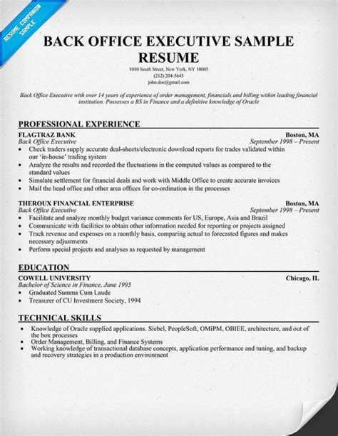resume format for experienced back ofice executive backup gambar office image982 most Resume Resume Format For Back Office Executive