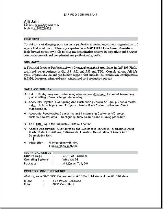 resume format for tally erp education sap customer service create your own example of Resume Sap Customer Service Resume