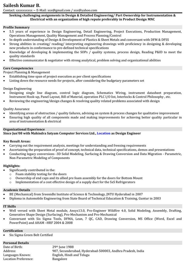 resume format years experience templates mechanical engineer engineering automobile hire Resume Automobile Engineer Resume
