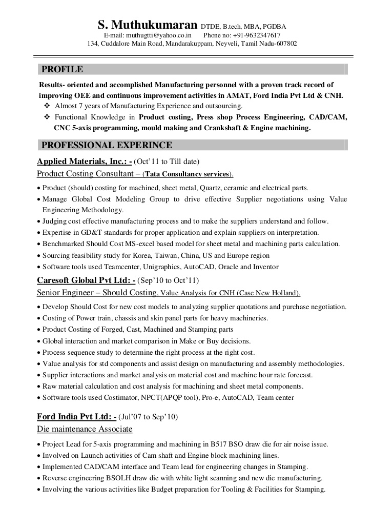 resume muthu automobile product costing 7years engineer production supervisor examples Resume Automobile Engineer Resume
