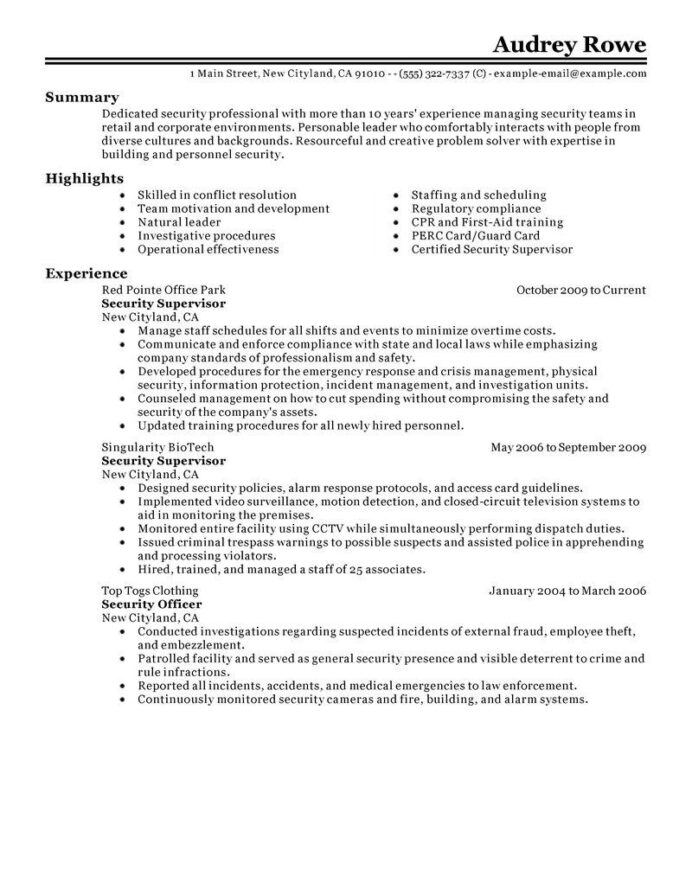 resume security guard examples fresh supervisor objective for proyectoportal templates Resume Security Summary For Resume