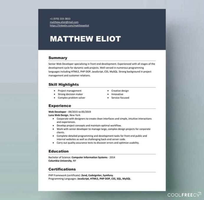 resume templates examples free word modern template it volunteer section of sample for Resume Free Modern Resume Templates 2020