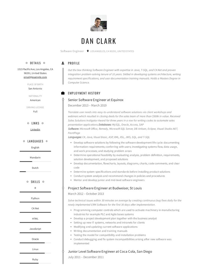 resume templates pdf word free downloads and guides modern dan software engineer health Resume Free Modern Resume Templates 2020