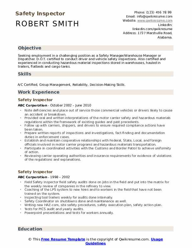 safety inspector resume samples qwikresume inspection coordinator pdf objective examples Resume Inspection Coordinator Resume