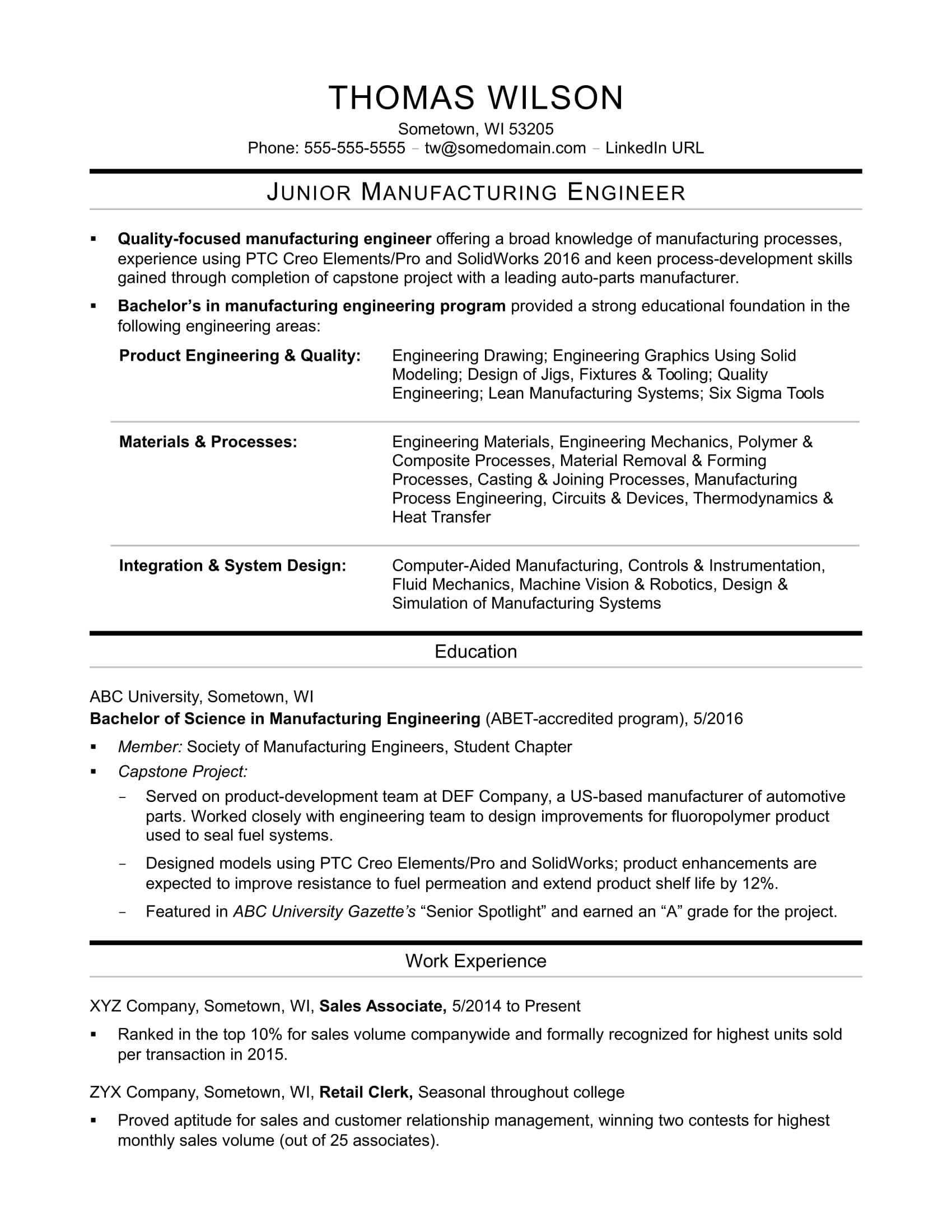sample resume for an entry level manufacturing engineer monster engineering caretaker Resume Entry Level Engineering Resume