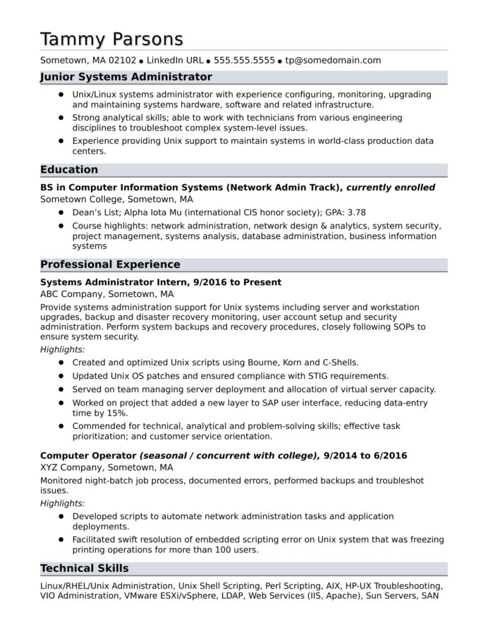 sample resume for an entry level systems administrator monster unix generic examples Resume Unix Administrator Resume Sample