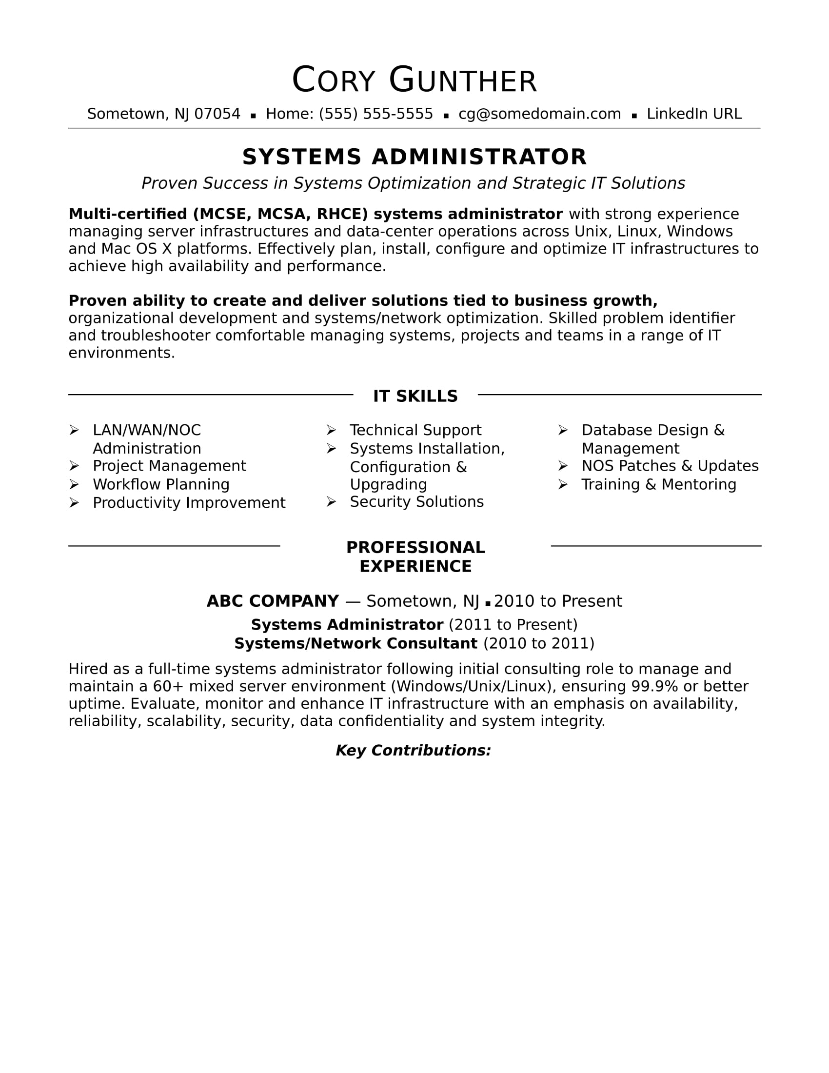 sample resume for an experienced systems administrator monster unix supervisor Resume Unix Administrator Resume Sample