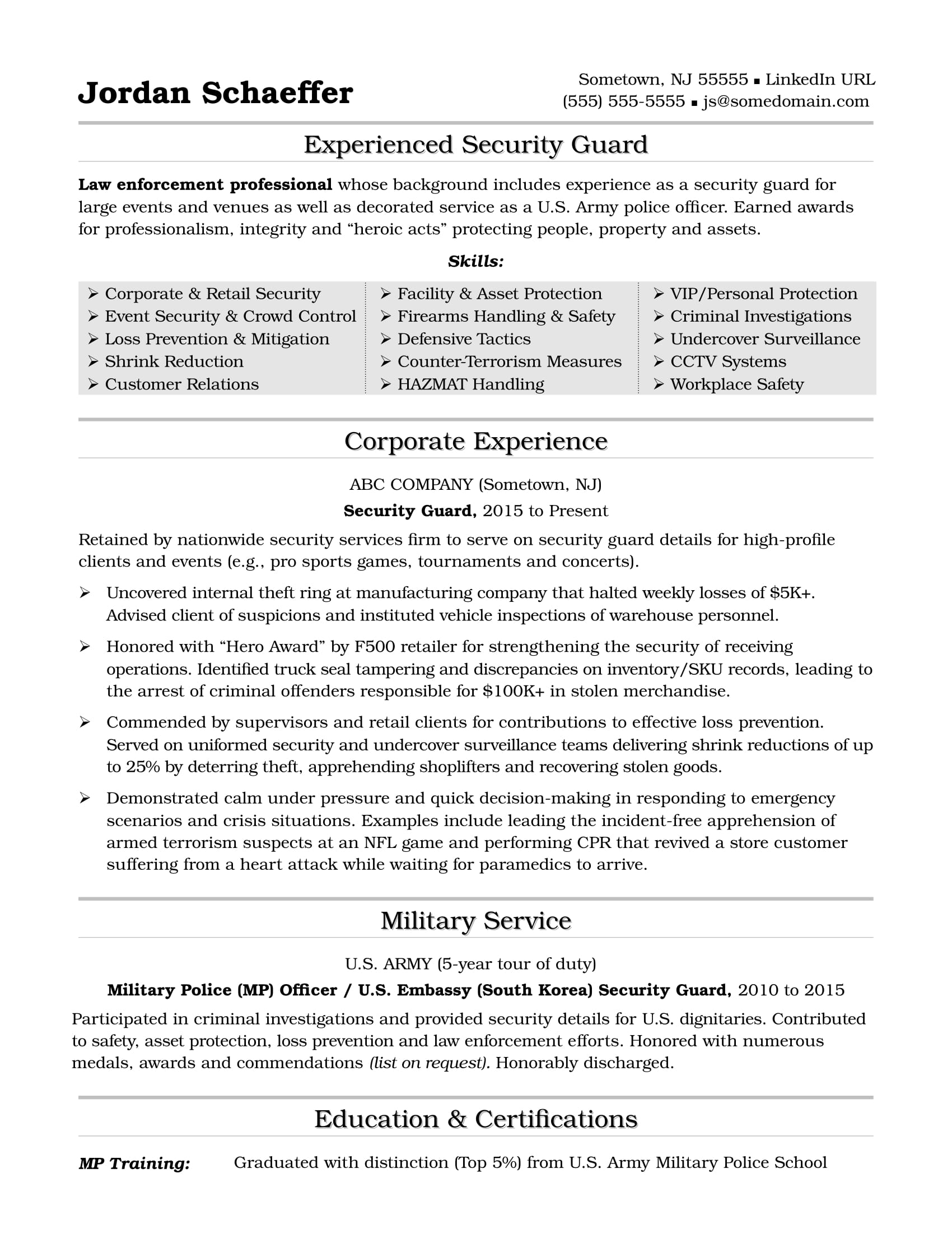 security guard resume sample monster summary for securityguard tcnj blockchain technology Resume Security Summary For Resume