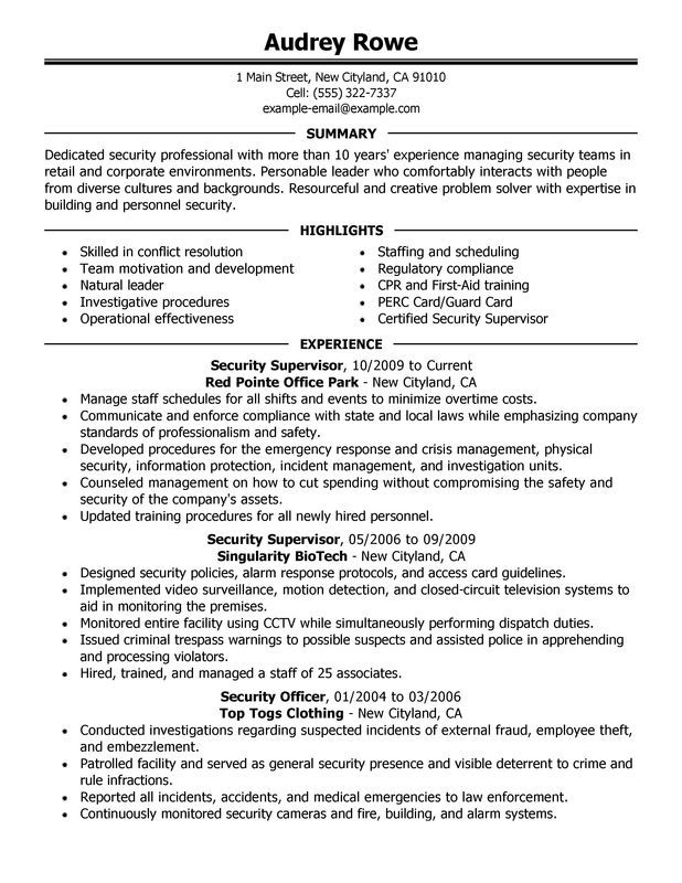 security supervisor resume sample perfect shift summary for sticky note template latest Resume Security Summary For Resume