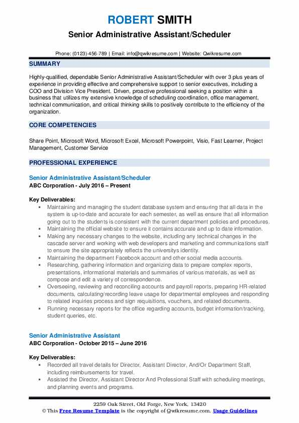 senior administrative assistant resume samples qwikresume experienced executive pdf best Resume Experienced Executive Assistant Resume
