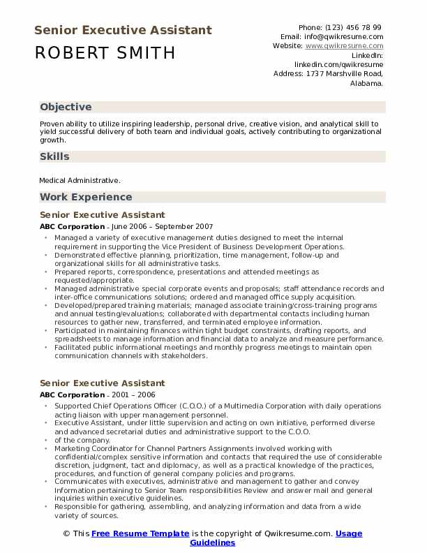 senior executive assistant resume samples qwikresume experienced pdf keywords examples Resume Experienced Executive Assistant Resume