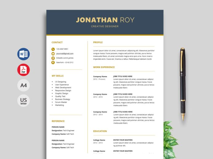 simple resume format cv template free modern templates gain work for high school student Resume Free Modern Resume Templates 2020