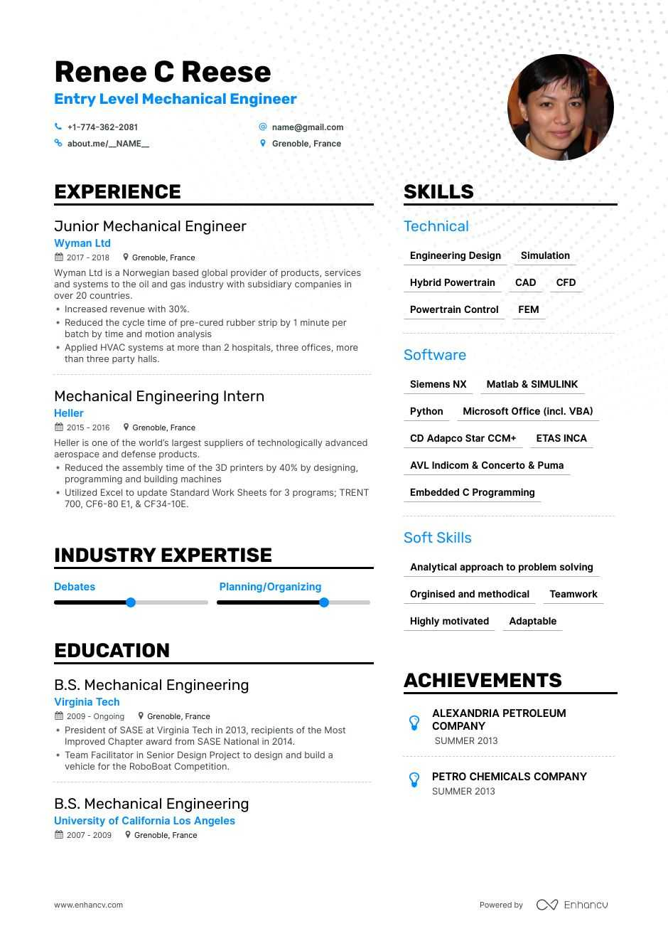 top entry level mechanical engineer resume examples expert tips enhancv engineering legal Resume Entry Level Engineering Resume