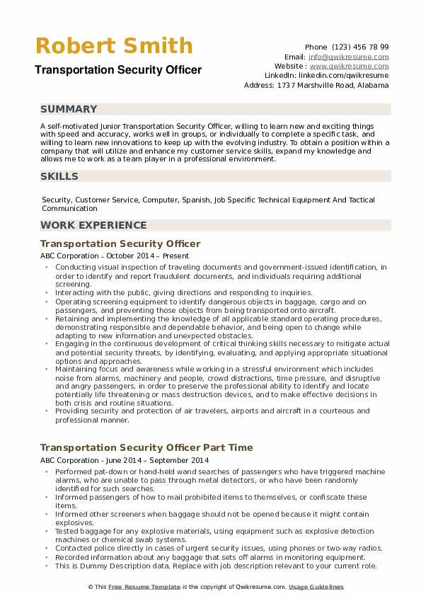 transportation security officer resume samples qwikresume summary for pdf walt disney Resume Security Summary For Resume