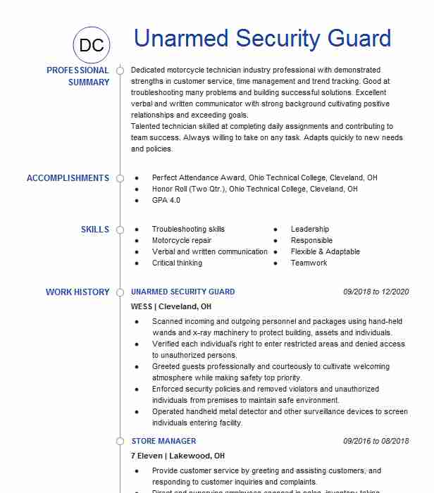 unarmed security guard resume example resumes livecareer summary for walt disney world Resume Security Summary For Resume