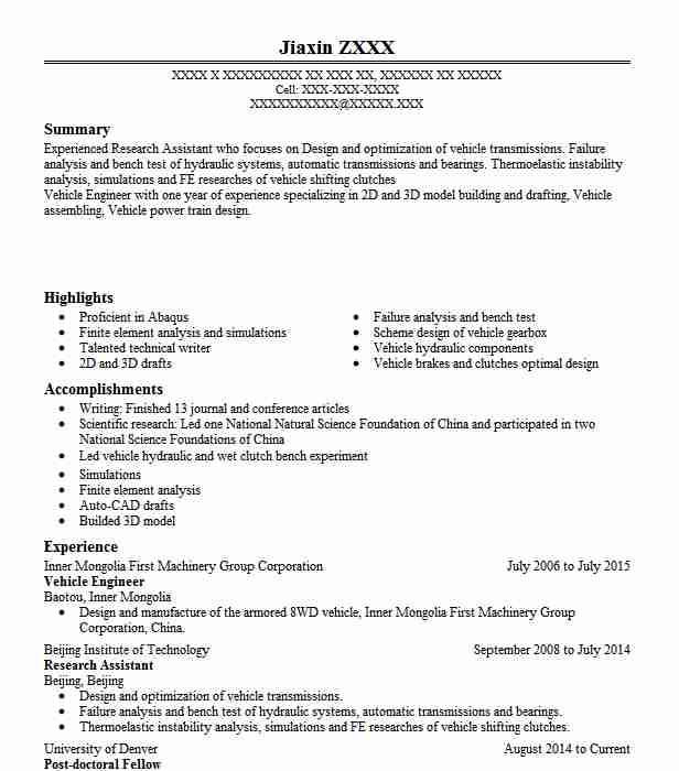 vehicle design engineer resume example company name city automobile first job outline Resume Automobile Engineer Resume